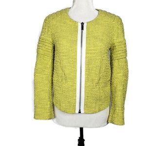 Elizabeth & James Yellow Textured Cropped Jacket